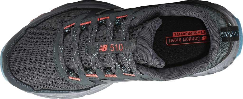 Women's New Balance 510v5 Trail Running Shoe, Gunmetal/Wax Blue/Toro Red, large, image 4