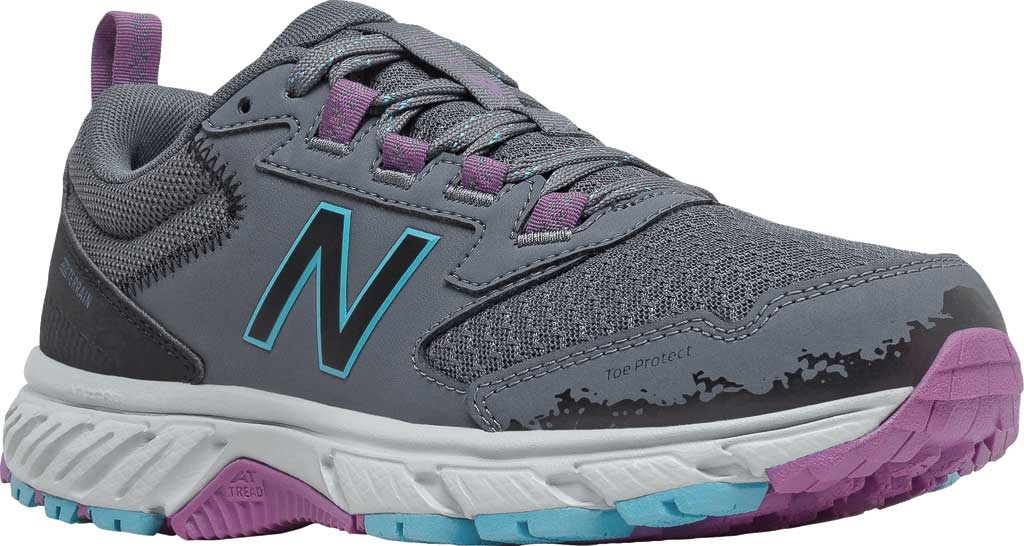 Women's New Balance 510v5 Trail Running Shoe, Thunder/Black/Virtual Sky/Sour Grape, large, image 1