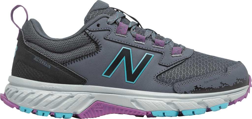 Women's New Balance 510v5 Trail Running Shoe, Thunder/Black/Virtual Sky/Sour Grape, large, image 2