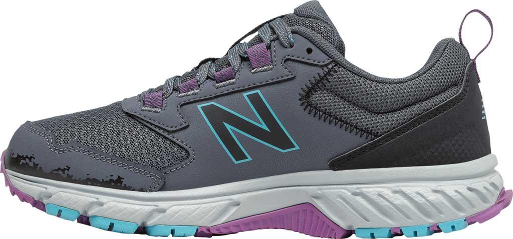 Women's New Balance 510v5 Trail Running Shoe, Thunder/Black/Virtual Sky/Sour Grape, large, image 3