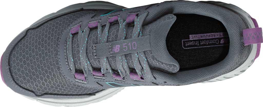 Women's New Balance 510v5 Trail Running Shoe, Thunder/Black/Virtual Sky/Sour Grape, large, image 4