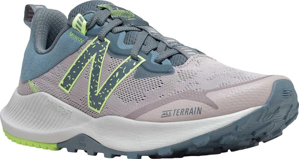 Women's New Balance DynaSoft Nitrelv4 Trail Running Sneaker, Logwood/Ocean Grey/Bleached Lime Glo, large, image 1