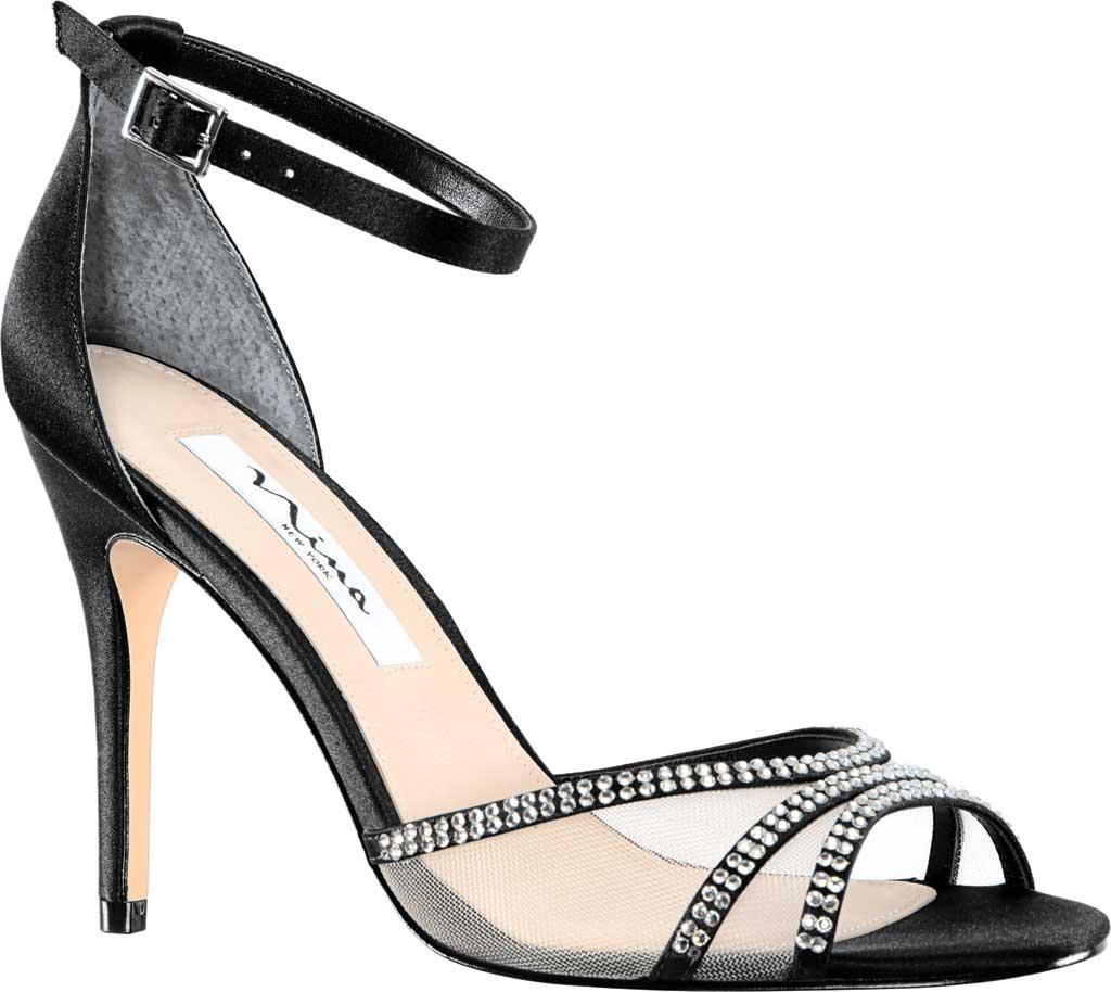 Women's Nina Calissa Ankle Strap Stiletto Sandal, Black Satin, large, image 1
