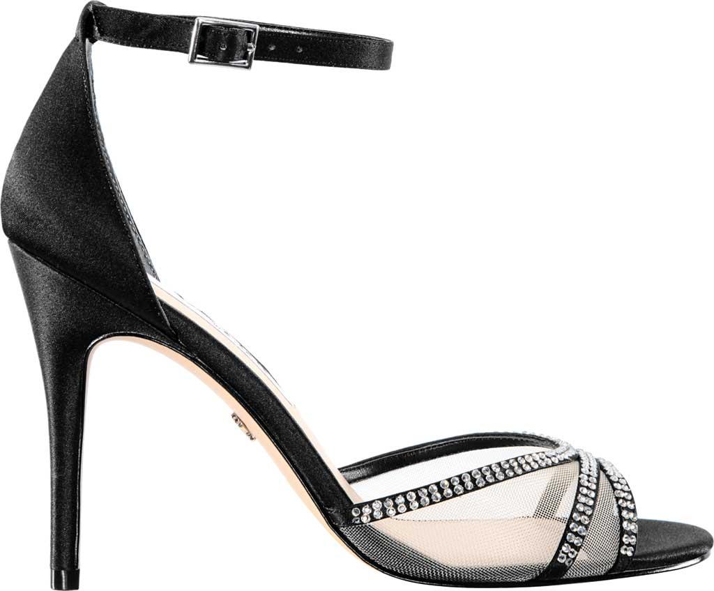 Women's Nina Calissa Ankle Strap Stiletto Sandal, Black Satin, large, image 2