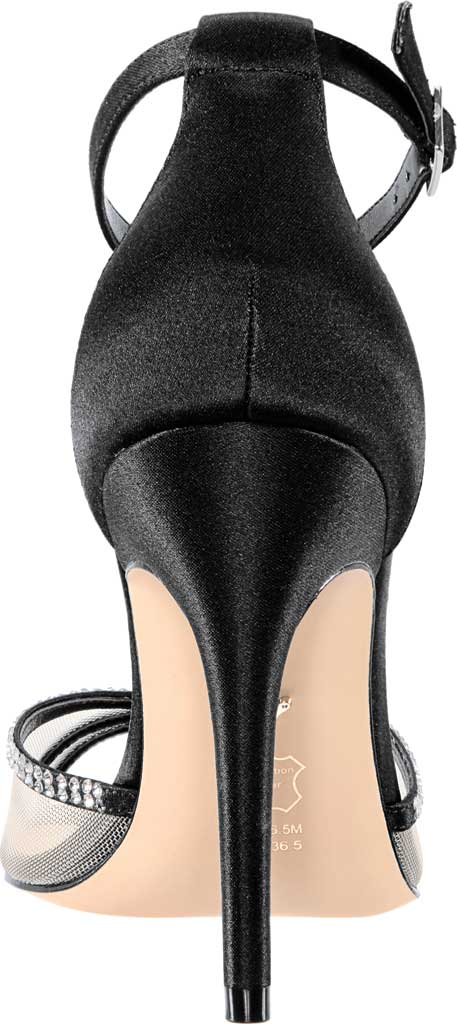 Women's Nina Calissa Ankle Strap Stiletto Sandal, Black Satin, large, image 4