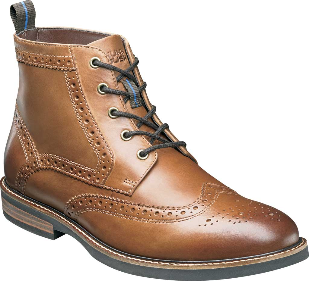 Men's Nunn Bush Odell Wingtip Chukka Boot, Tan Crazy Horse Leather, large, image 1