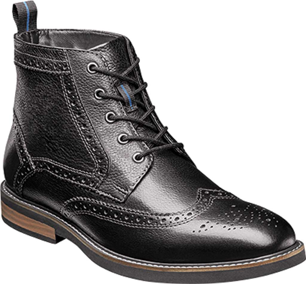 Men's Nunn Bush Odell Wingtip Chukka Boot, Black Tumbled Leather, large, image 1