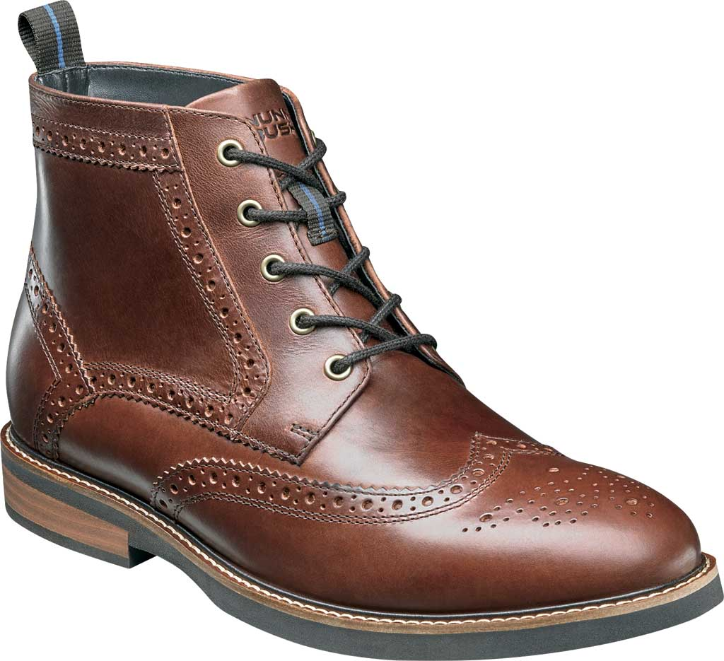 Men's Nunn Bush Odell Wingtip Chukka Boot, Rust Tumbled Leather, large, image 1