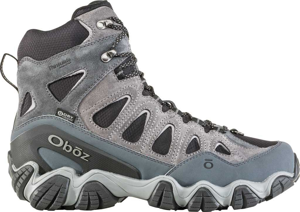 """Men's Oboz Sawtooth II 8"""" Insulated B-DRY Waterproof Boot, Pewter/Frost Grey Waterproof Split Suede/Textile, large, image 2"""