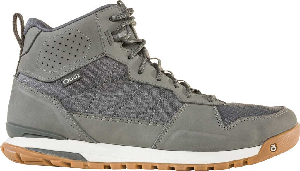 Men's Oboz Bozeman Mid Sneaker, Steel Waterproof Nubuck/Recycled Textile, large, image 2