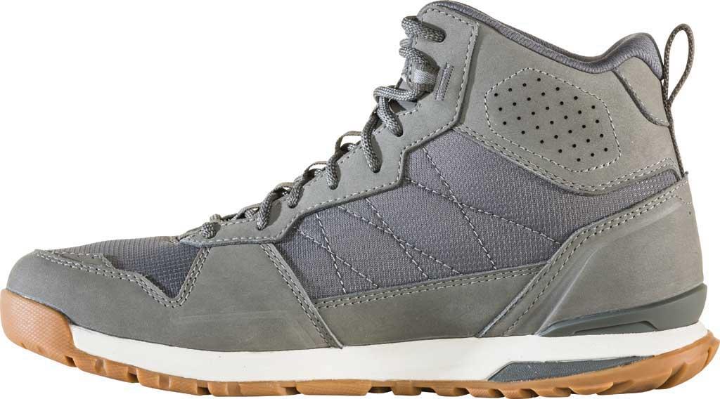 Men's Oboz Bozeman Mid Sneaker, Steel Waterproof Nubuck/Recycled Textile, large, image 3