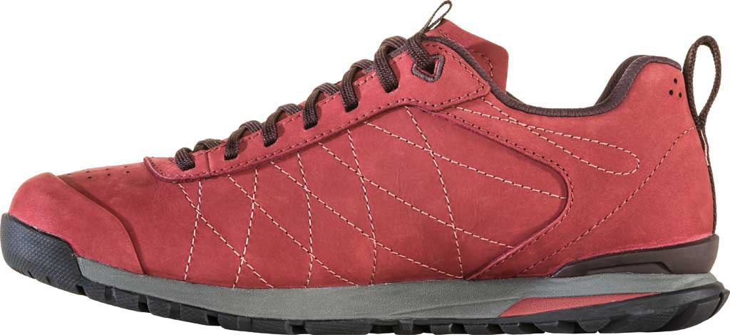 Women's Oboz Bozeman Low Leather Trail Shoe, Red Currant Waterproof Split Suede, large, image 3
