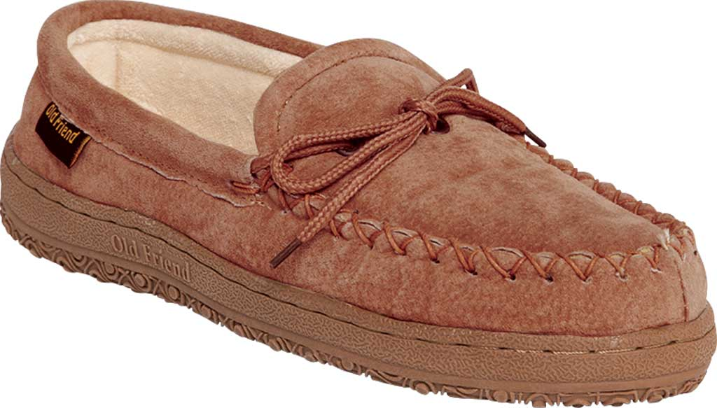 Men's Old Friend Terry Cloth Moccasin Slipper, Chestnut II Suede, large, image 1
