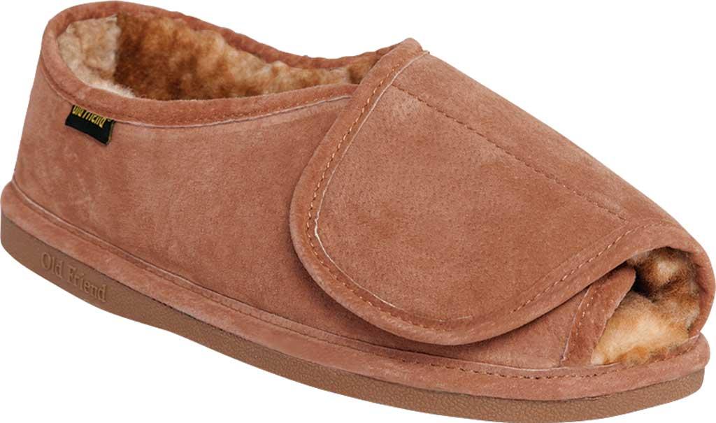 Men's Old Friend Step In Open Toe Slipper, Chestnut II Suede, large, image 1