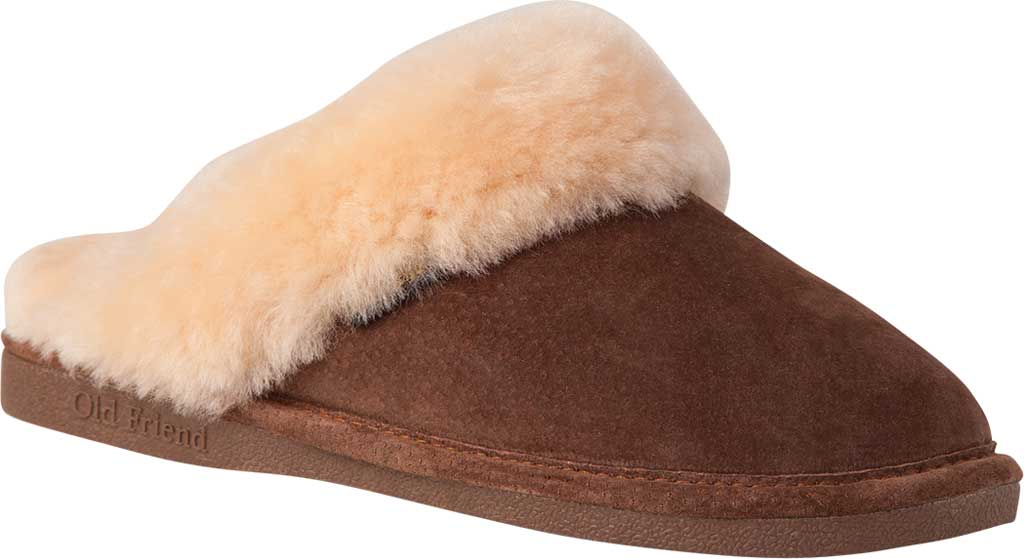 Women's Old Friend Scuff Slipper, Chocolate/Chocolate Leather, large, image 1