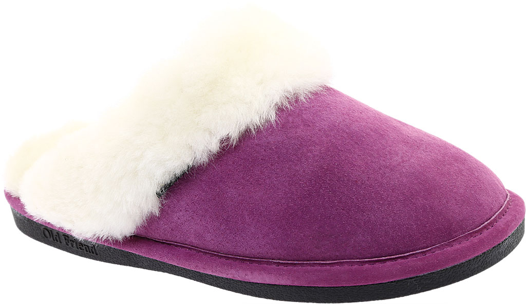 Women's Old Friend Scuff Slipper, Purple Leather, large, image 1