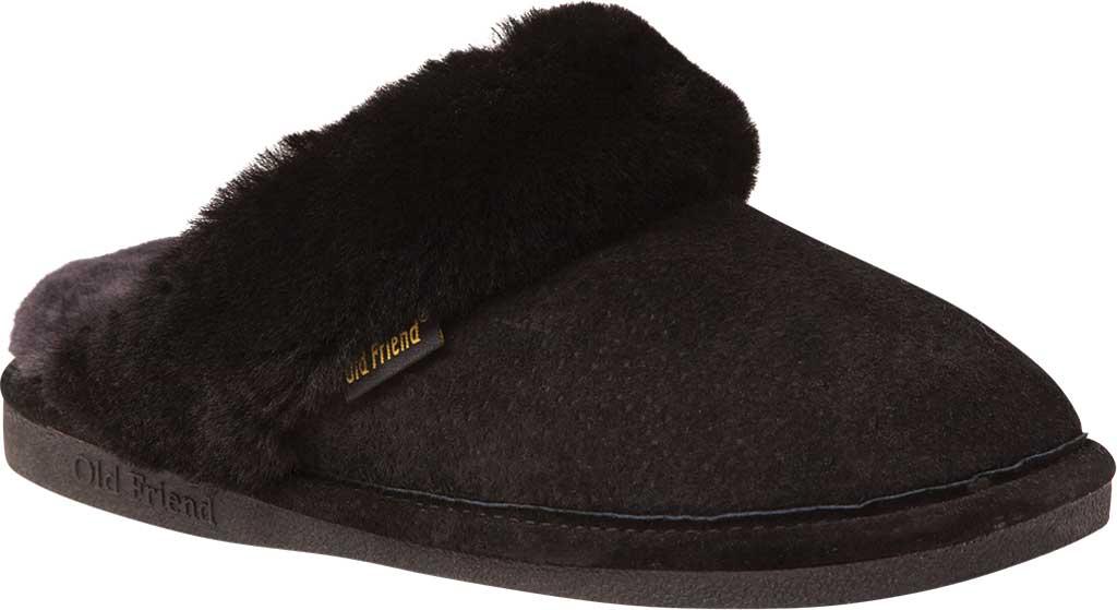 Women's Old Friend Scuff Slipper, Black/Grey Leather, large, image 1