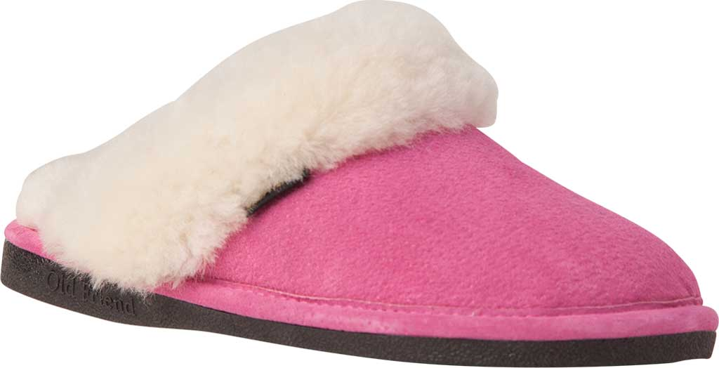 Women's Old Friend Scuff Slipper, Hot Pink Leather, large, image 1
