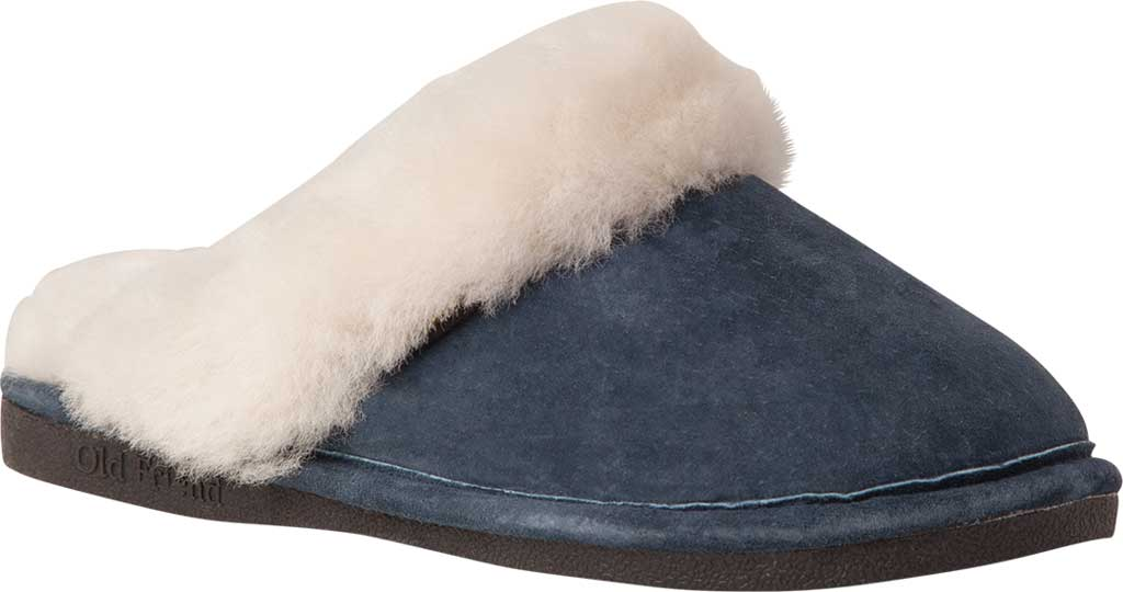 Women's Old Friend Scuff Slipper, Navy Blue Leather, large, image 1