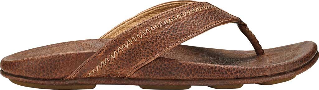Men's OluKai Hiapo Flip Flop, Teak/Koa Full Grain Leather, large, image 1