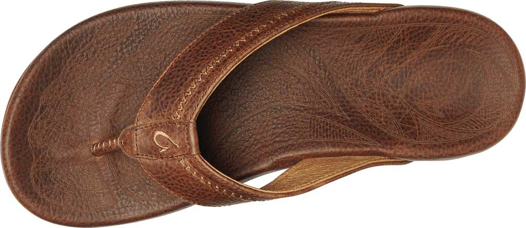 Men's OluKai Hiapo Flip Flop, Teak/Koa Full Grain Leather, large, image 2