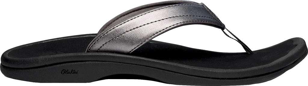 Women's OluKai Ohana Flip Flop, Pewter/Black, large, image 1