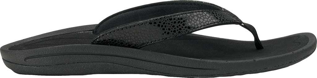 Women's OluKai Kulapa Kai Flip Flop, Black/Black, large, image 2
