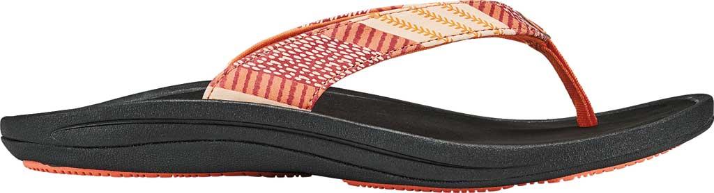 Women's OluKai Kulapa Kai Flip Flop, Fusion Coral/Kapa Stripe Synthetic, large, image 1