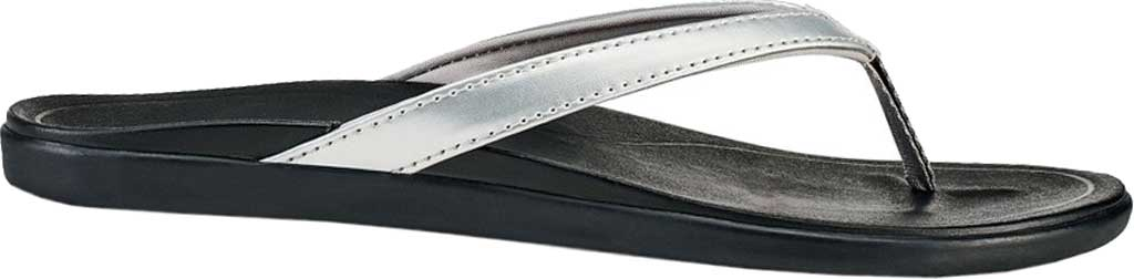 Women's OluKai Ho'opio Flip-Flop, Silver/Black Synthetic, large, image 1