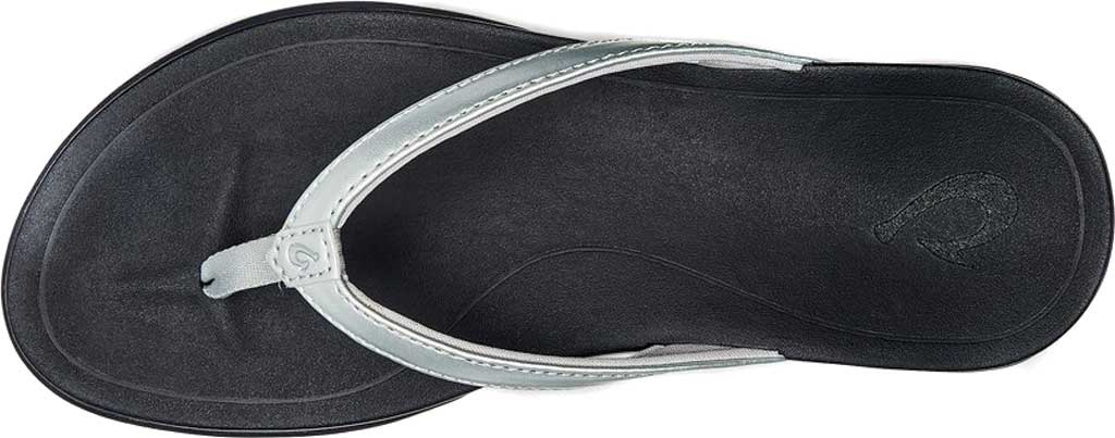 Women's OluKai Ho'opio Flip-Flop, Silver/Black Synthetic, large, image 2
