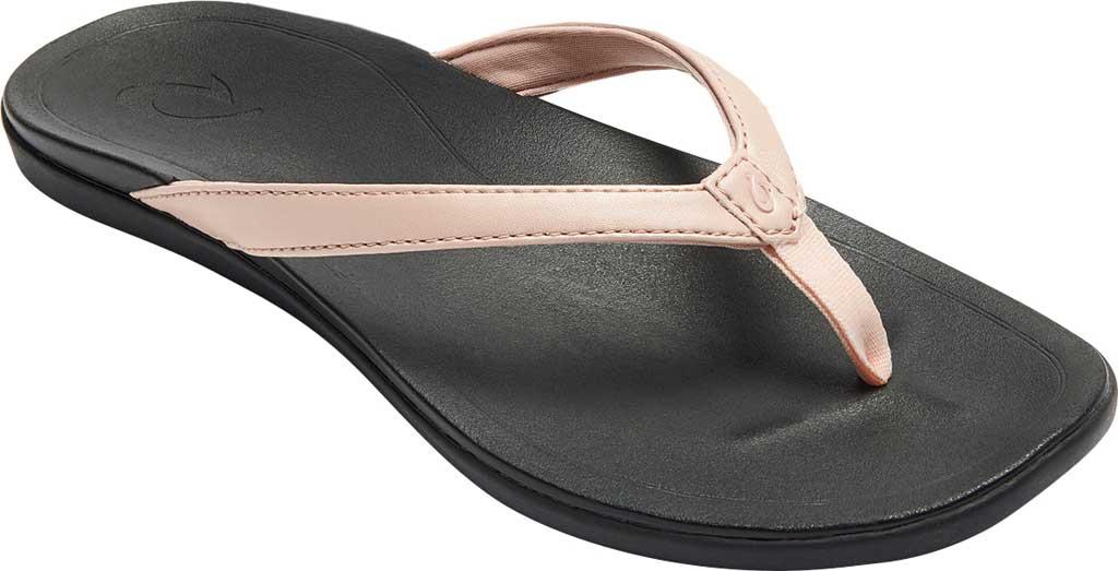 Women's OluKai Ho'opio Flip-Flop, Petal Pink Metallic/Black Synthetic, large, image 1