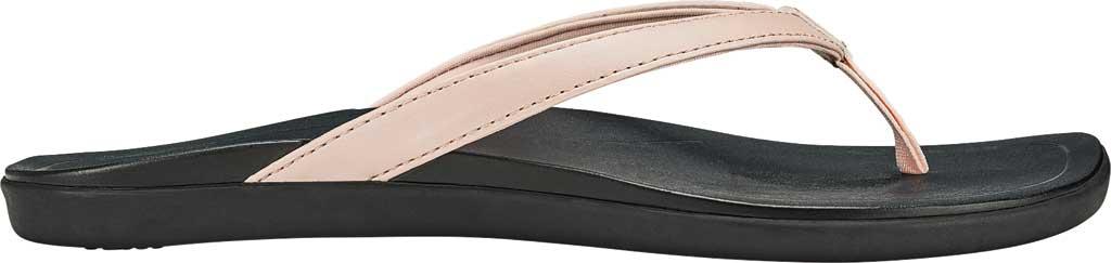 Women's OluKai Ho'opio Flip-Flop, Petal Pink Metallic/Black Synthetic, large, image 2