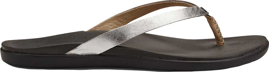 Women's OluKai Ho'opio Leather Flip-Flop, Silver/Charcoal Leather, large, image 1