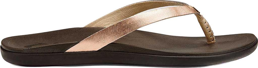 Women's OluKai Ho'opio Leather Flip-Flop, Copper Leather, large, image 1