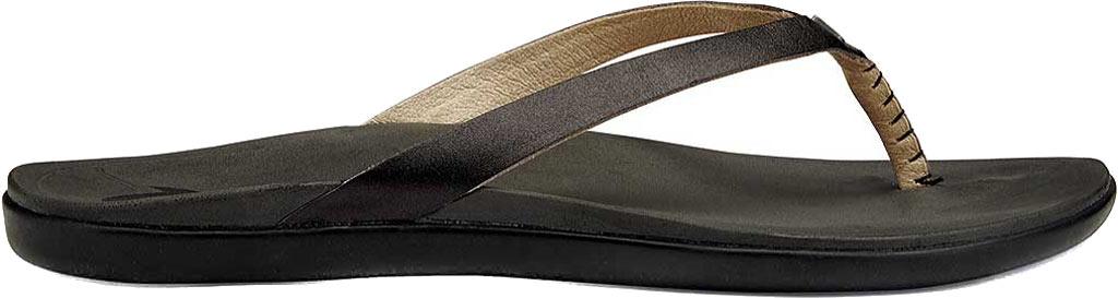 Women's OluKai Ho'opio Leather Flip-Flop, Onyx Leather, large, image 1