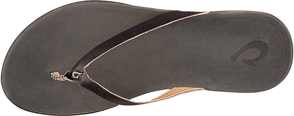 Women's OluKai Ho'opio Leather Flip-Flop, Onyx Leather, large, image 2