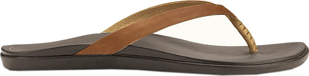 Women's OluKai Ho'opio Leather Flip-Flop, Sahara/Dark Java, large, image 1