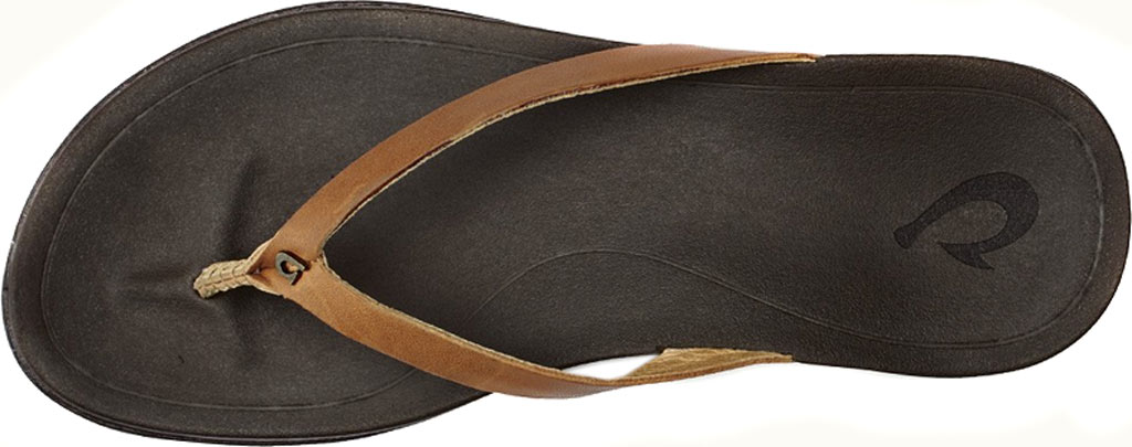 Women's OluKai Ho'opio Leather Flip-Flop, Sahara/Dark Java, large, image 2
