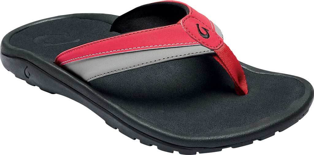 Men's OluKai Ohana Koa Flip Flop, Lychee Red/Poi Synthetic, large, image 1