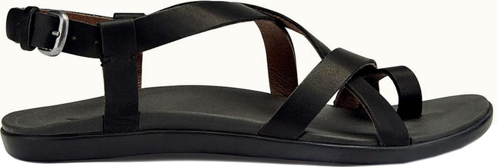 Women's OluKai Upena Quarter Strap Sandal, Black/Black, large, image 1