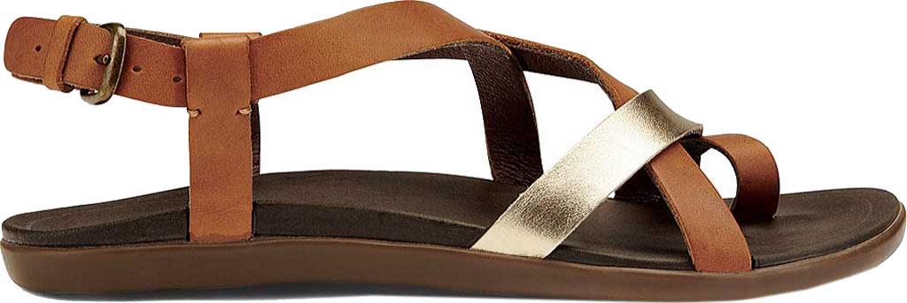 Women's OluKai Upena Quarter Strap Sandal, Mustard/Bubbly Leather, large, image 1