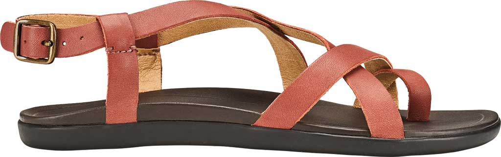 Women's OluKai Upena Quarter Strap Sandal, Cedar Wood/Dark Java Full Grain Leather, large, image 2