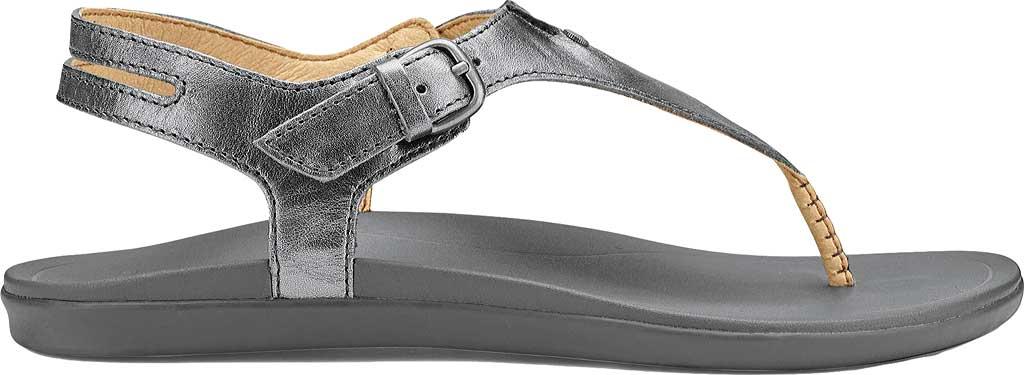 Women's OluKai Eheu T Strap Sandal, Pewter/Charcoal Leather, large, image 1