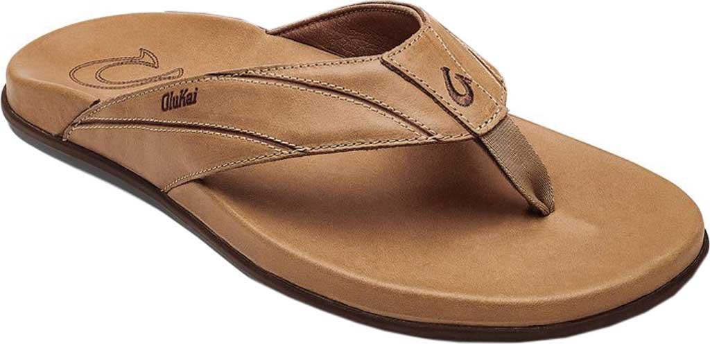 Men's OluKai Pikoi Flip Flop, Golden Sand/Golden Sand Full Grain Leather, large, image 1