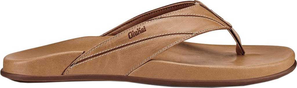 Men's OluKai Pikoi Flip Flop, Golden Sand/Golden Sand Full Grain Leather, large, image 2
