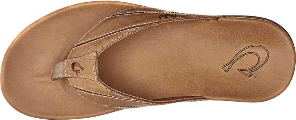 Men's OluKai Pikoi Flip Flop, Golden Sand/Golden Sand Full Grain Leather, large, image 3