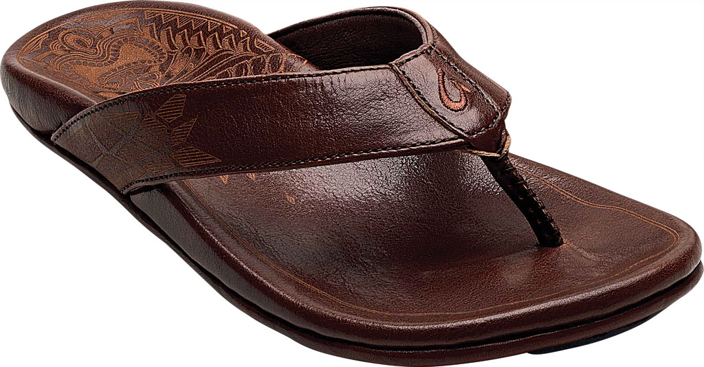 Men's OluKai Kulia Thong Sandal, Dark Wood/Dark Wood Leather, large, image 1
