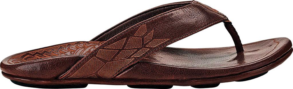 Men's OluKai Kulia Thong Sandal, Dark Wood/Dark Wood Leather, large, image 2