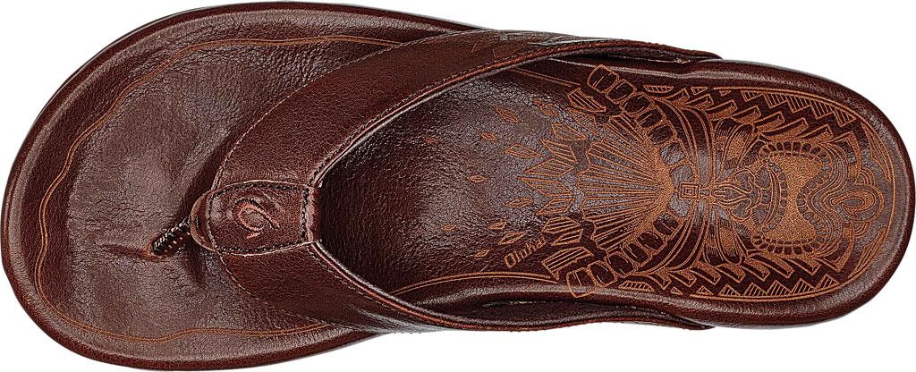 Men's OluKai Kulia Thong Sandal, Dark Wood/Dark Wood Leather, large, image 3