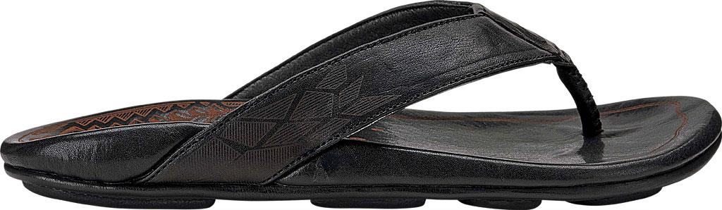 Men's OluKai Kulia Thong Sandal, Black/Black Leather, large, image 1